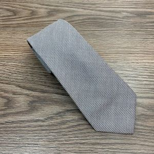 O Frances Silver Grey & White Check Cotton Tie